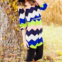 Multi Color Chevron Print Tunic Dress