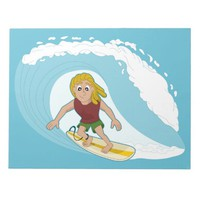 Surfing guy cartoon notepad