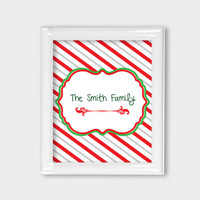 8x10 Family Monogram Personalized Christmas Print