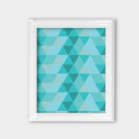 8x10 Modern Colorful Triangles Geometric Mid Century Wall Art Wall Decor Pink Mint Teal Purple Office Wall Decor