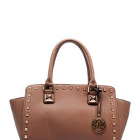Studded Satchel in Tan