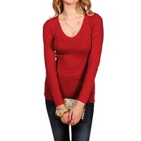 Deep Red Basic Long Sleeve