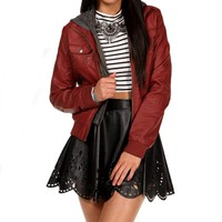 WineRed Cable Sweater Jacket