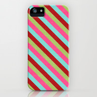 holiday diagonal stripes iPhone & iPod Case by her art