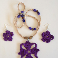 The Four Winds Amethyst Crochet Necklace Set