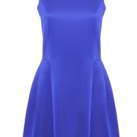 Blue High Neck Sleeveless Skater Dress