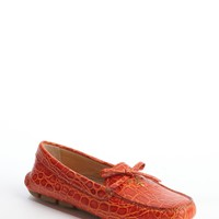 Sunset Orange Croc Embossed Leather Loafers