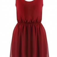 Red Sleeveless Bow Back Skater Dress