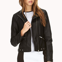 Sleek Faux Leather Jacket