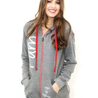 Peace Love World I Am Peace Love World Sherpa Zip Hoodie In Light Heather Grey