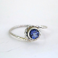 Twisted Blue Passion Topaz Ring - Sterling Silver, 14k Yellow Gold or Palladium White Gold - Promise Ring - Made to Order - Free Shipping