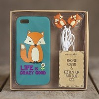 "Trendy Natural Life ""Life Is Crazy Good"" Fox Phone Cover & Ear Bud Set for IPhone 5 Phone Case Iphone 5"