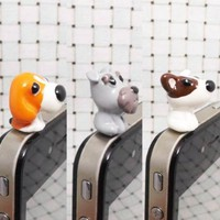 Adorable Grey Schnauzer White Bull Terrier Orange Basset Hound Dog Puppy Dust Plug 3.5mm Phone Accessory Cell Phone Plug iPhone Dust Plug Samsung Plug Phone Charm Headphone Jack Earphone Cap Ear Cap Dust Plug (3PCS with 3 Patterns)
