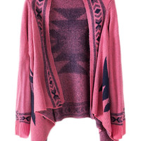ROMWE | ROMWE Geometric Knitted Buttonless Pink Cardigan, The Latest Street Fashion