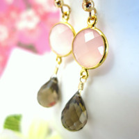 Pink chalcedony bezel brown quartz gold dangle earrings