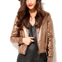 Metallic Pleather Bomber Jacket