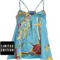 BLUE CHAIN PRINT SWING CAMI TOP
