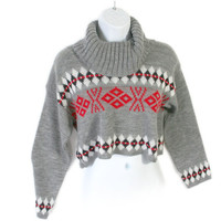 Gray Nordic Turtleneck Cropped Ugly Ski Sweater