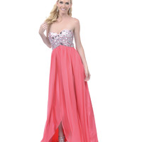SALE! 2013 Homecoming Dresses - Watermelon Sequined Strapless Long Dress