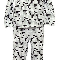 Sleepyheads Men's Crossword Black & White Lounger Pajama - 3X