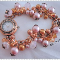 Antique Copper and Pink Handmade Watch Bracelet