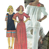 1970s Peasant Blouse Dress & Pants Vintage sewing pattern McCall's 5111 Bust 32 1/2 - 34 Size 12 UNCUT FF