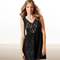 AEO Women's Double V Lace Dress (True Black)