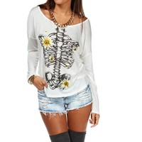 White Daisy Skeleton Screen Tee
