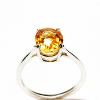 "Citrine, citrine ring, birthstone ring, solitaire ring, orange ring, s 5 3/4 ""Citrus"""