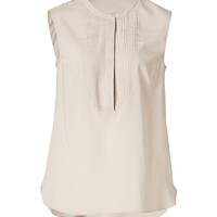 Brunello Cucinelli - Silk Sleeveless Top with Pintuck Front