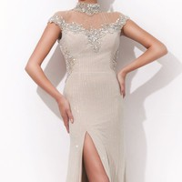 Beaded Turtle Neckline Jersey Gown by Tony Bowls Collections