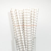 50 Gray Diagonal Checkered Paper Straws with Free Printable Flags