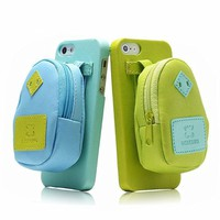 Creative Backpack Storage Leather Phone Case For iPhone