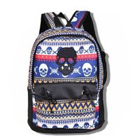 Tribe & Skull Pattern Colorful Suede Backpack