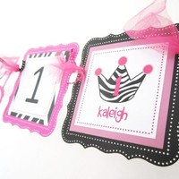Zebra Print Crown or Tiara Banner Personalized for Princess Party