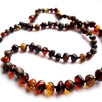 Baroque Dark Multicolored Baltic Amber Necklace 18.1 inches