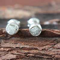 Rough Diamond Stud Earrings Sterling Silver Raw Diamond Bezel Set Stud Earrings Silversmithed Metalsmithed