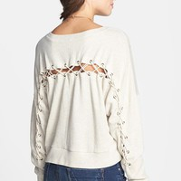 BP. Lace Up Crop Sweatshirt (Juniors) | Nordstrom