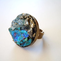 Peacock Ore Ring - Raw Stone Cluster Ring- Blue Topaz - Pyrite - Large Cocktail Ring