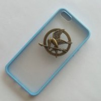 Shapotkina Handmade DIY Punk Style Hunger Game transparent Blue case for iPhone 5C phone cover+Westlinke Logo Stylus