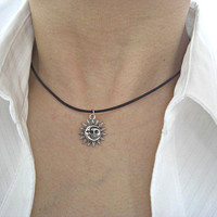 Sun and Moon Pewter Charm Dark Brown/Black Leather Choker, Gift for her