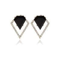 BLACK DECO CRYSTAL STUD EARRINGS