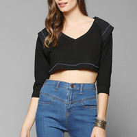 Silence + Noise Embroidered Shoulder Cropped Top - Urban Outfitters