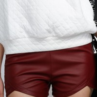 Wine High Wasted Shorts