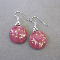Pink Earrings with Golden Dragonflies, Drop Earrings, Dragonfly - Pink Luck - 2215 -3