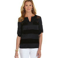 Peter Nygard Woman Roll-Tab Lace-Insert Blouse | Dillard's Mobile