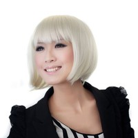 Wig - 6 Colors (white/blonde/silver, short, bangs, bowl-cut)