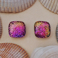 Dichroic Glass Stud Earrings, Fused Dichroic Glass Post Earrings, Dichroic Glass Jewelry - Tropical Sunset