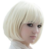 X&Y ANGEL New Popular Kanekalon Short Straight BOB Sexy Stylish Heat Resistant Synthetic Hair Wig Creamy White Blonde K004