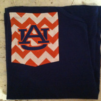 Auburn Chevron Pocket Monogrammed Game Day T-shirts